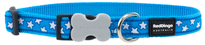 Red Dingo Dog collar turquoise blue with white stars